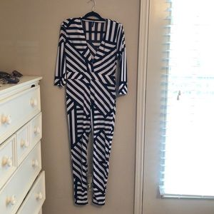 Pants - Black and White Jumpsuit
